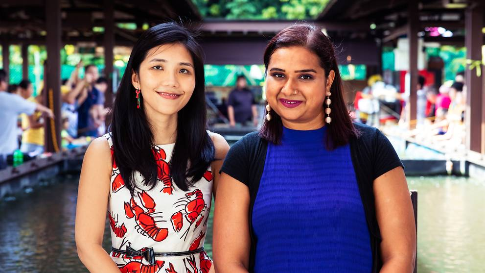 CTO Dr Ling Ka Yi and CEO Dr Sandhya Sriram, co-founders of Shiok Meats. Image: Shiok Meats