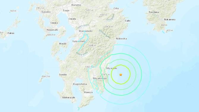 The quake's epicentre was off the coast of Miyazaki prefecture. (Image: USGS)
