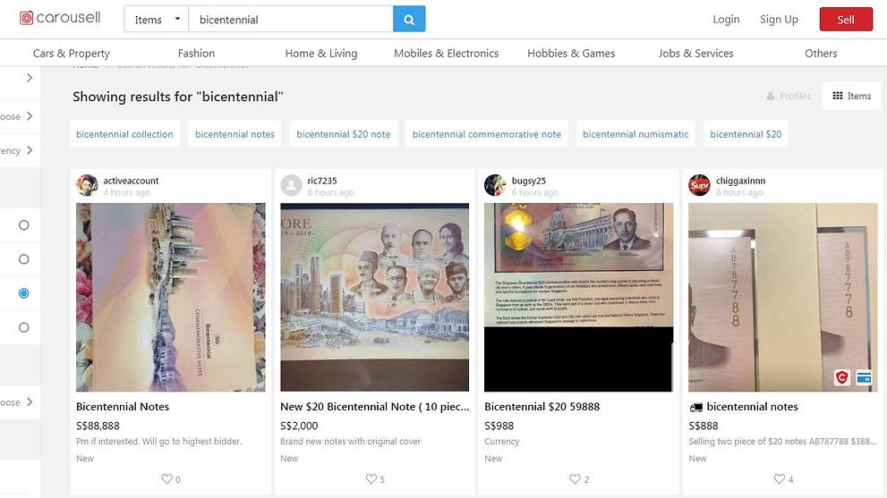 Bicentennial S$20 notes on sale for as much as S$988 on