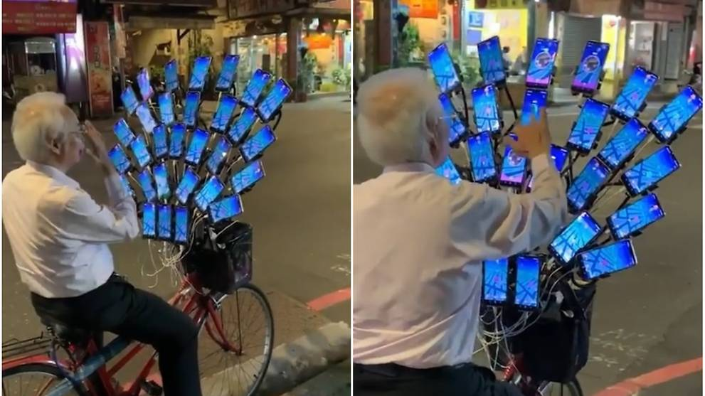 Elderly Taiwanese man catches them all in Pokemon Go with multiple