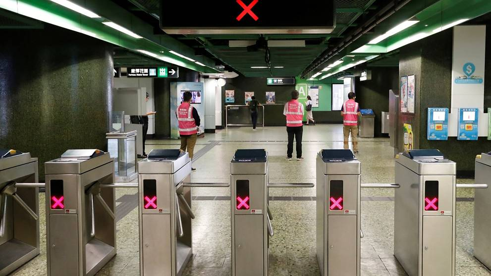 Four MTR stations in Hong Kong close to head off protest