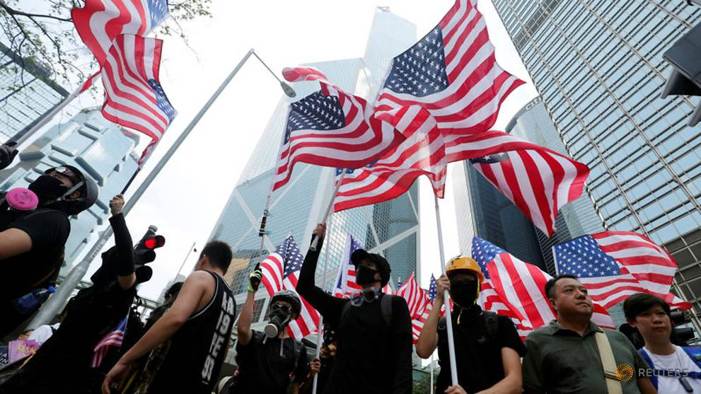 Hong Kong warns against foreign interference after protesters march to US consulate