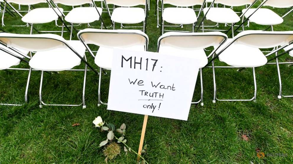 Empty chairs for MH17 victims outside Russia's Hague Embassy