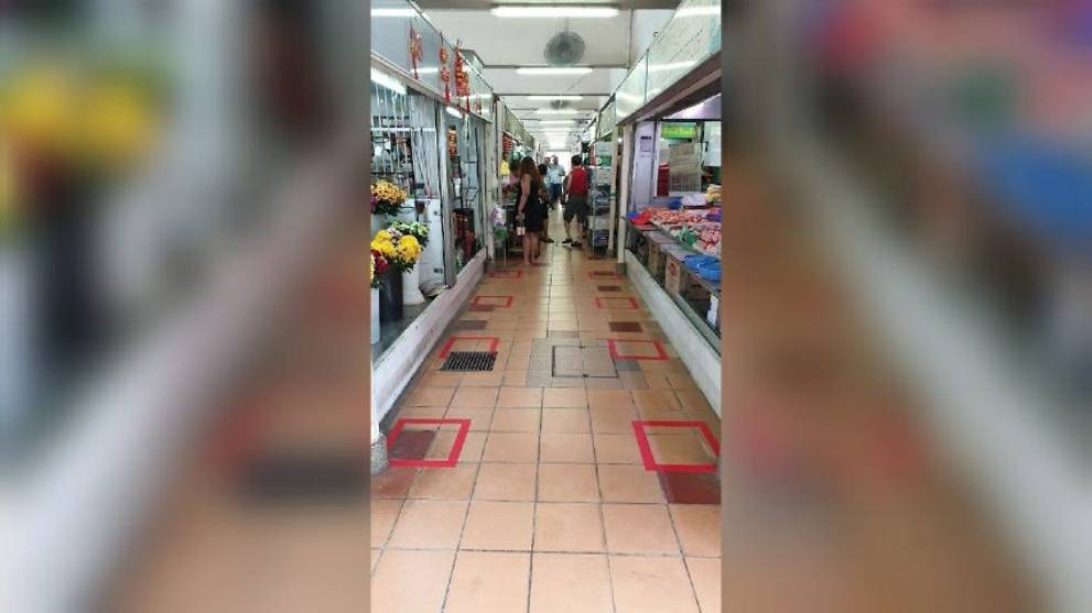 Queue markings at markets part of new COVID-19 safe distancing measures: NEA