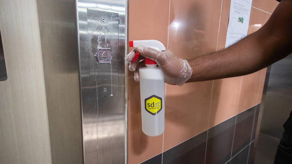 'Self-disinfecting coating' applied to HDB lift buttons