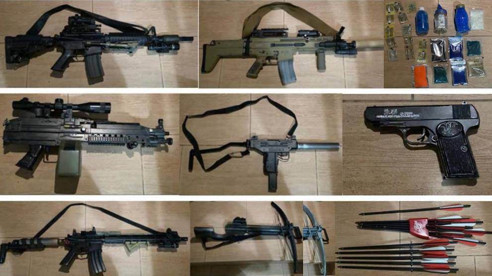 Man arrested for possession of 18 airsoft guns after victim hit by plastic pellet