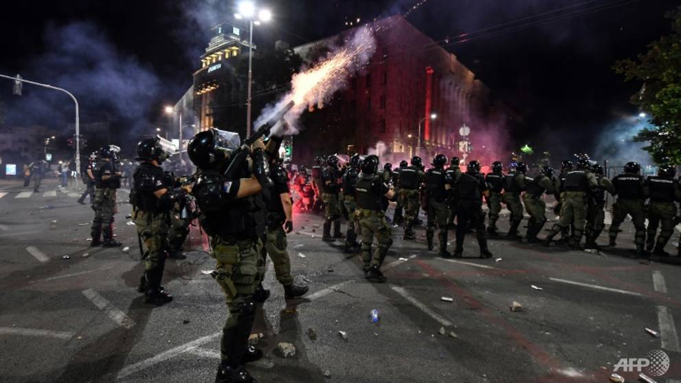 Serbia arrests 71 over COVID-19 protest violence, including Briton