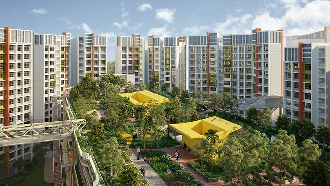 artist impression of roof garden on multistory car park of parc residences tengah