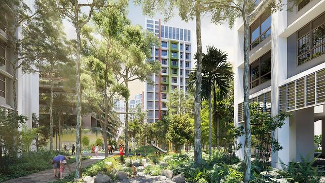 artist s impression of the rainforest walk at parc residences tengah