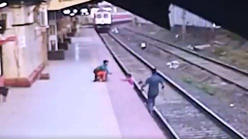 Railway worker saves 6-year-old boy from oncoming train in dramatic rescue in India