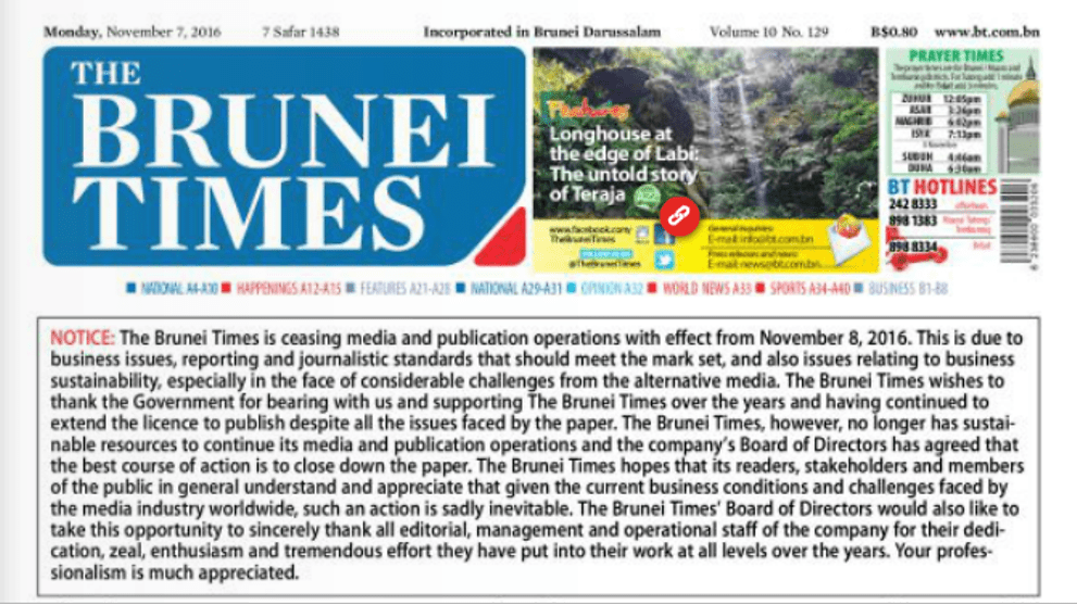 Brunei Times to close over 'business issues' - CNA
