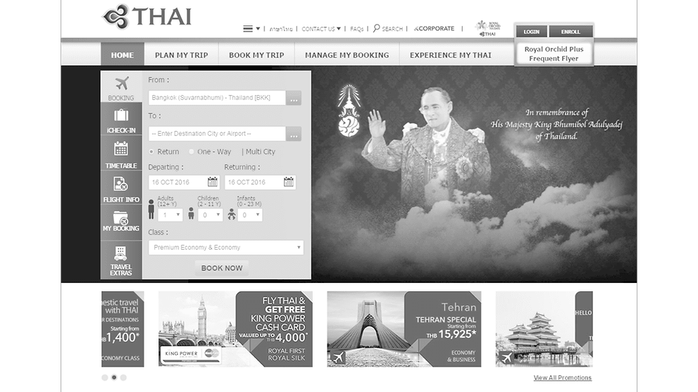 Airlines pay tribute to Thailand's late King Bhumibol - CNA