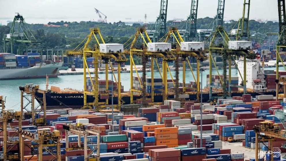 a view of the container port in singapore on december 7  2013   917804.'