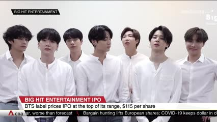 BTS label prices IPO at top of its range, US$115 per share | Video