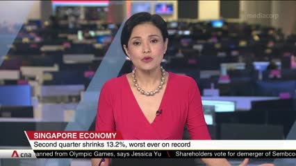 Singapore narrows 2020 GDP forecast range as economy sees record quarterly slump in Q2 | Video
