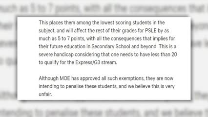 Students exempted from mother tongue languages have similar outcomes with new PSLE scoring: MOE | Video