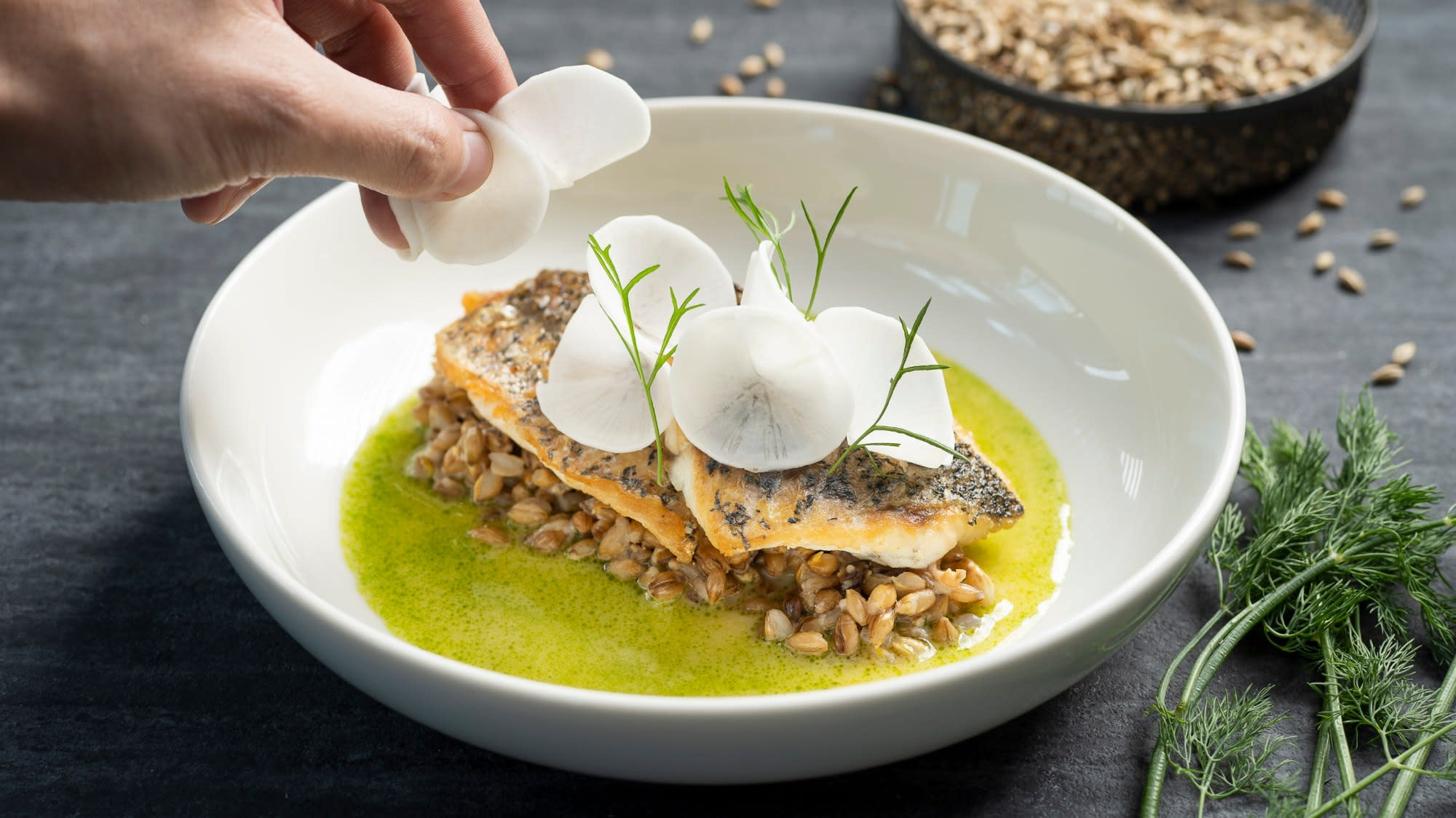 Easy home recipe: LeVel33's sea bass and beer malt 'risotto' | CNA Lifestyle